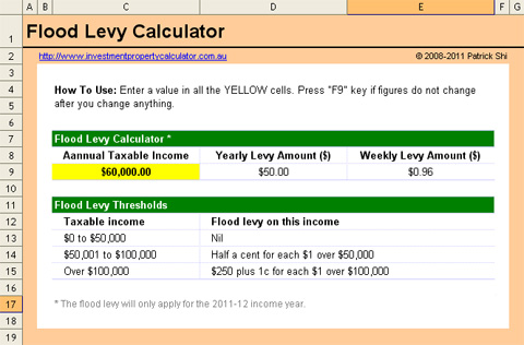 FREE Flood Levy Calculator