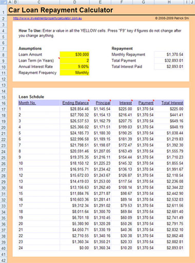 Free Car Loan Calculator Excel Spreadsheet