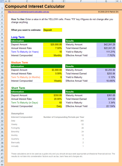 Free Compound Interest Calculator Excel Spreadsheet