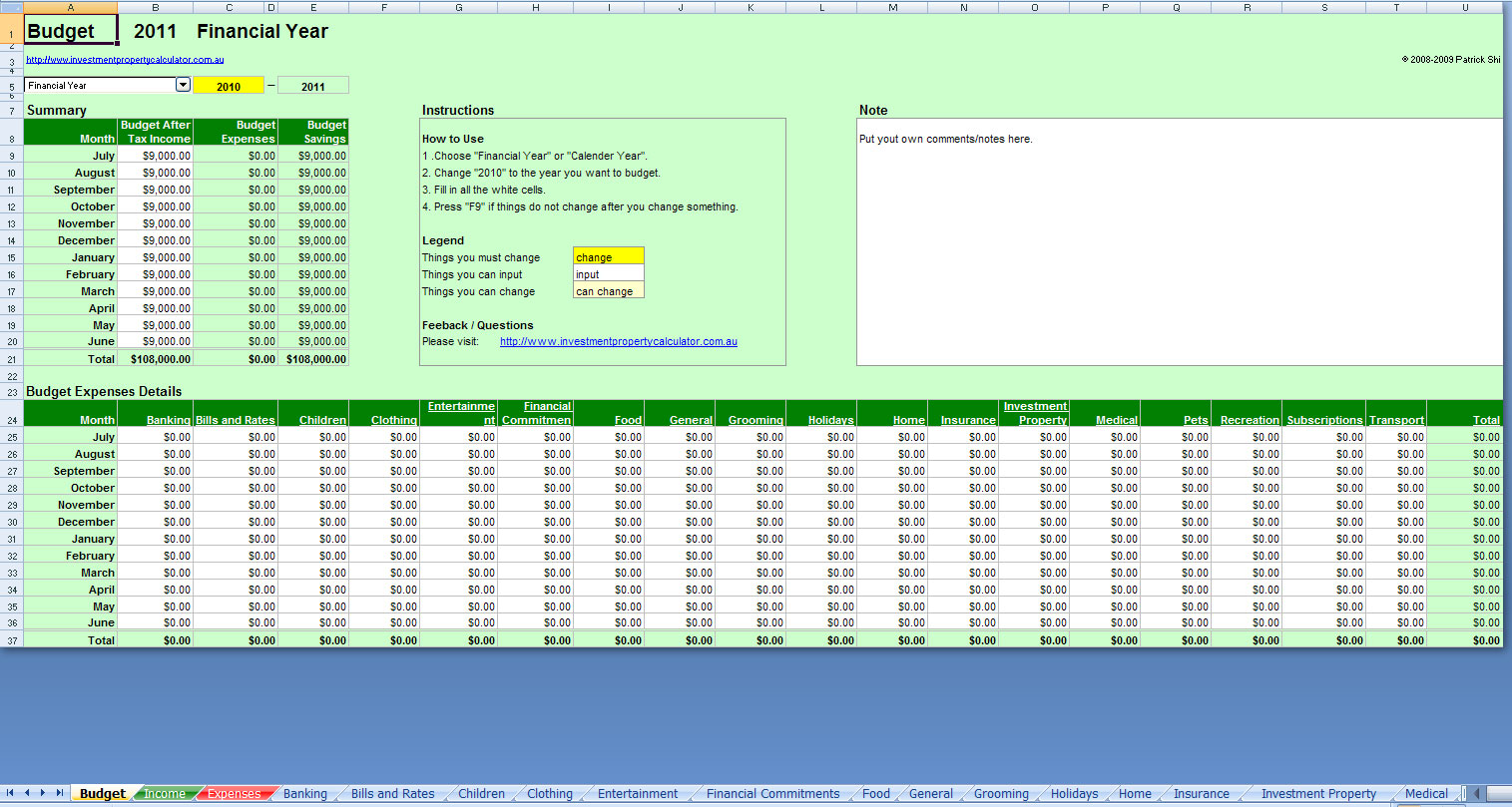 Free Comprehensive Budget Planner Spreadsheet Excel