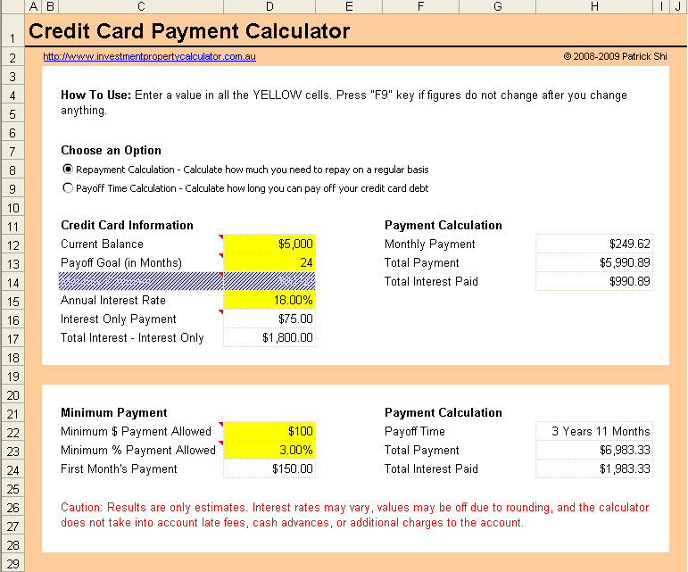 Free Credit Card Payment Calculator Excel Spreadsheet