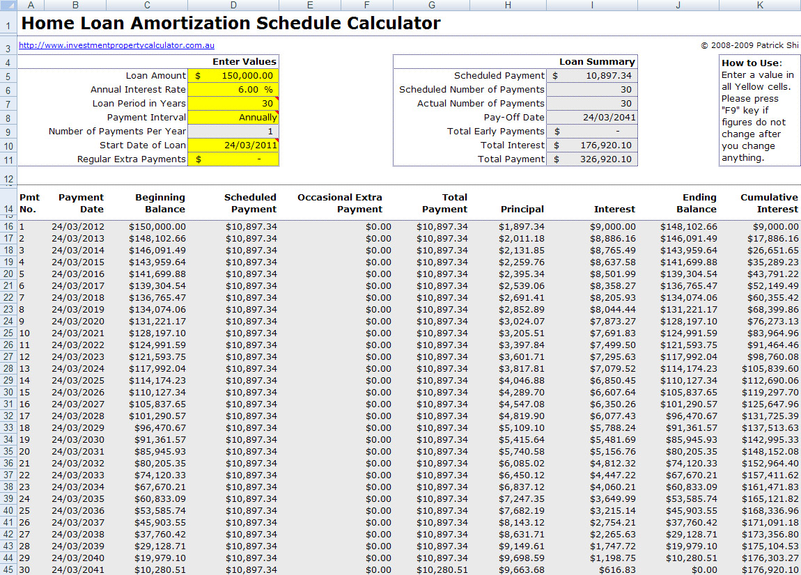 free mortgage home loan amortization calculator