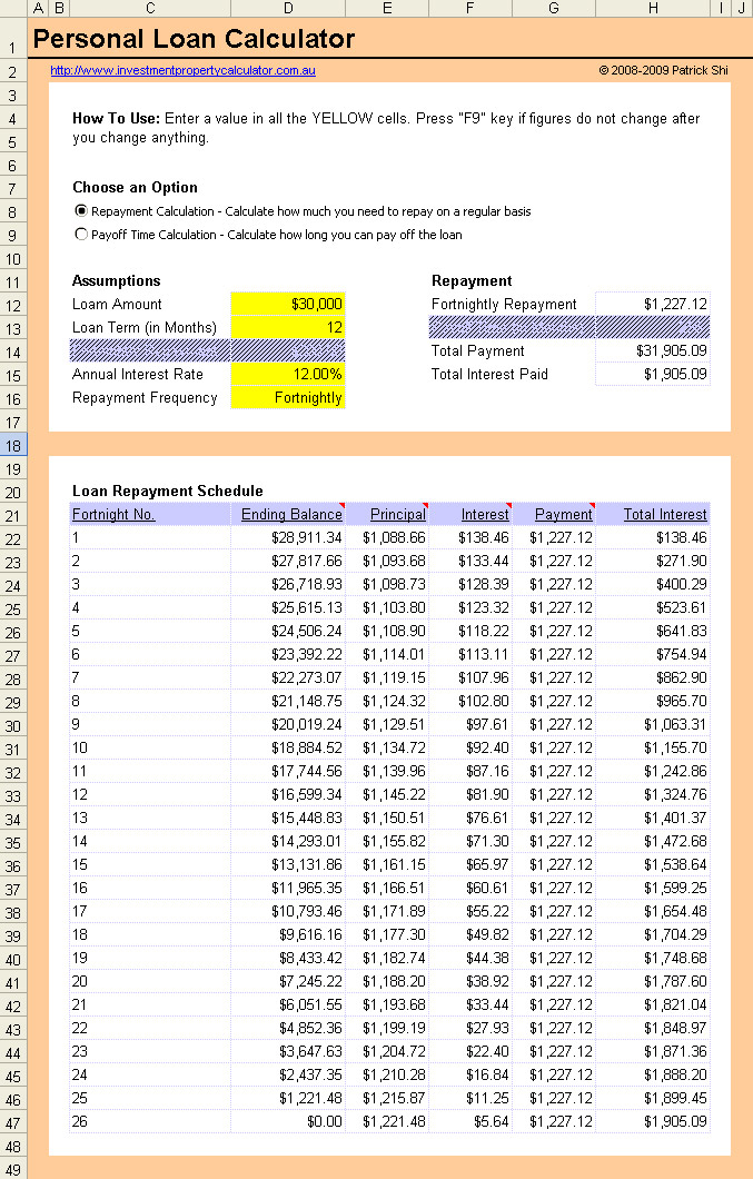Free Personal Loan Repayment Calculator Excel Spreadsheet