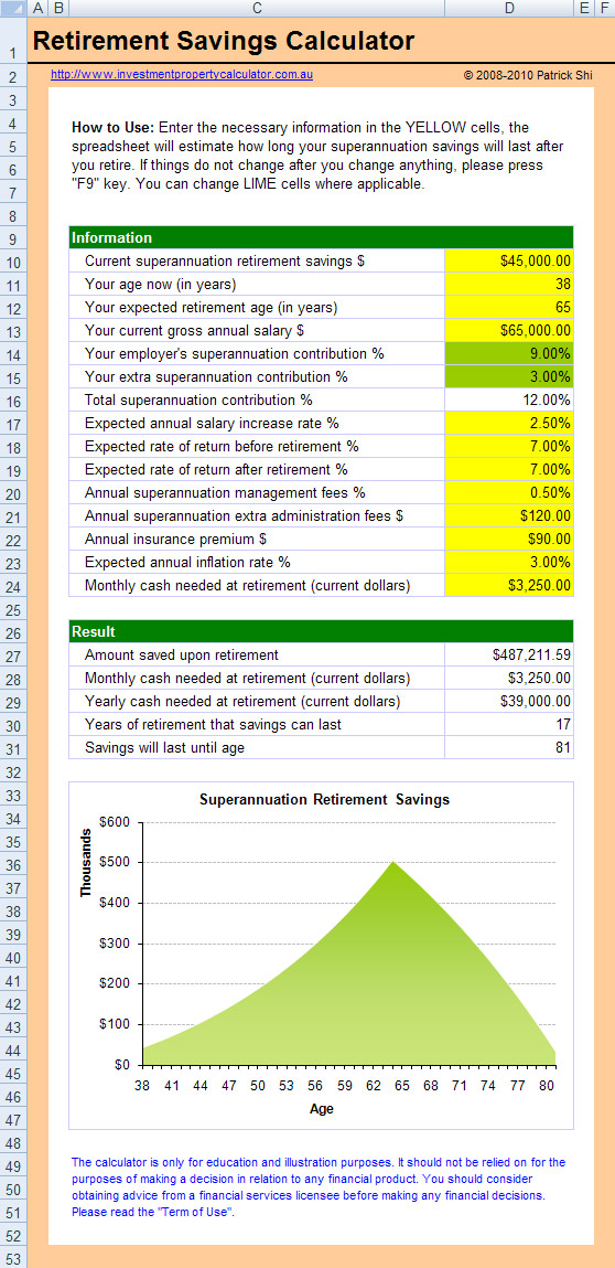 free retirement calculator spreadsheet. Black Bedroom Furniture Sets. Home Design Ideas