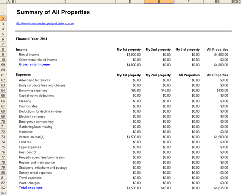 Investment Property Record Keeping Spreadsheet - All Properties Summary