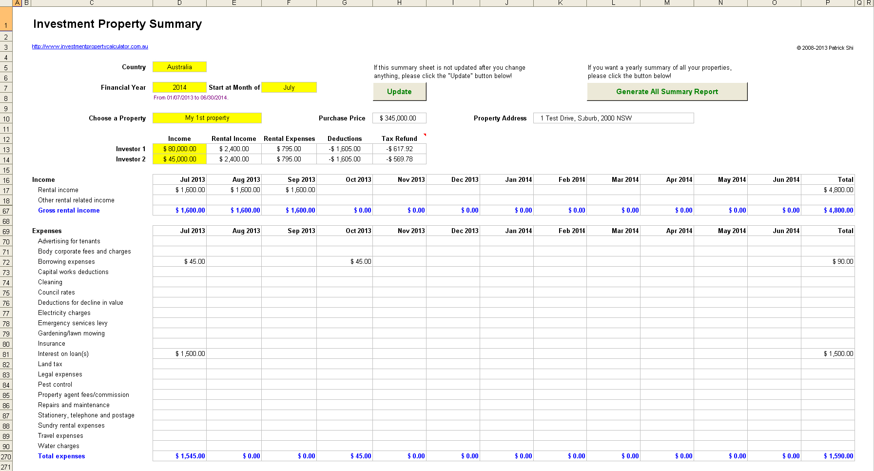 rental investment property record keeping spreadsheet