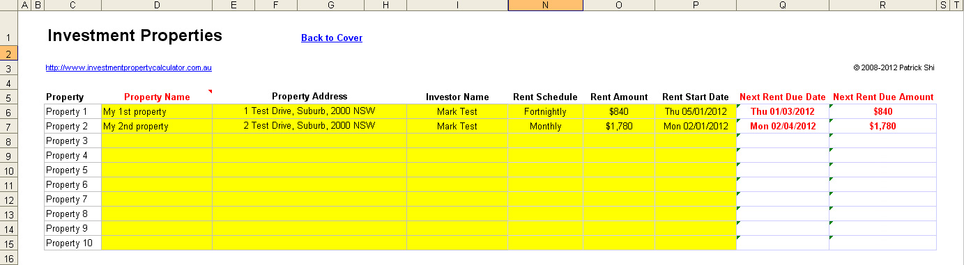 investment property rent collection management spreadsheet properties